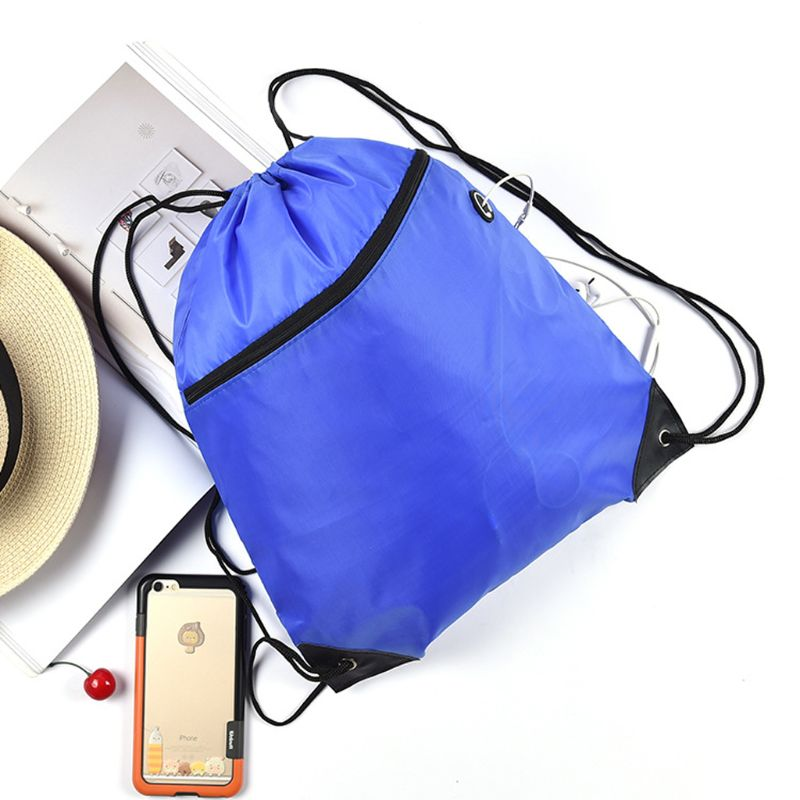 Mini Waterproof  Polyester String Drawstring Shoe Bag Pack Storage With Earphone Hole Gym Tote School Pouch Outdoor Travel Duffl