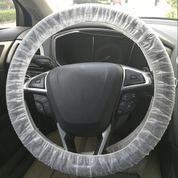 Auto Non-woven Fabric Steering Wheel Case White Car Repair Anti-oil and Anti-fouling Disposable Non-woven Steering Wheel Cover image