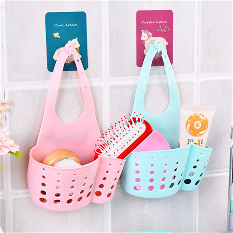 Kitchen Sink Sponge Storage Hanging Basket Kitchen Organizer Sink Sponge Holder Black Bathroom Sink Organizer Drain Dryer QBB01