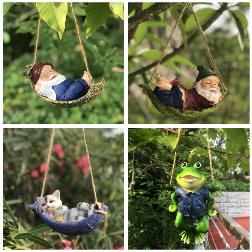 Creative Cute Frogs Cat Dog Resin Lying Santa Claus Statue Garden Hang On Tree Decorative Pendant Indoor Outdoor Decor Ornament