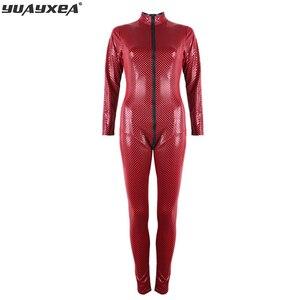 Image 1 - Combinaison de Bondage en Faux cuir PU souple, grande taille S 5XL, rouge et noir, combinaison entrejambe ouvert, fermeture éclair