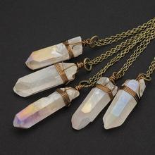 1pcs White Rainbow Angel Aura Quartz Crystal Necklace Raw Crystal Point Rough Aurora Borealis  Pendant Boho Layer Necklace