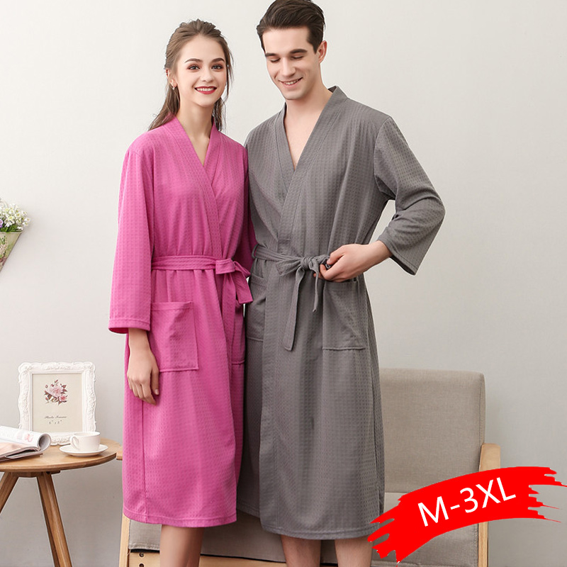 Lovers Autumn Waffle Bathrobes Men Women Suck Water Kimono Nightgowns Plus Size Spa Bath Robe 3XL