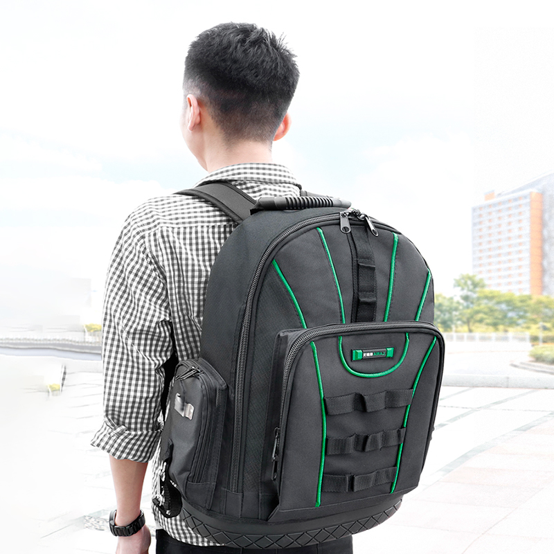 AIRAJ Multi-function Tool Backpack 1680D Waterproof And Wear-resistant Tool Storage Bag For Electrician / Woodworking Tool Bag