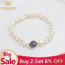 ASHIQI настоящий натуральный пресноводный барочный жемчуг браслеты для женщин серебряные бусины 925 пробы ювелирные изделия подарок