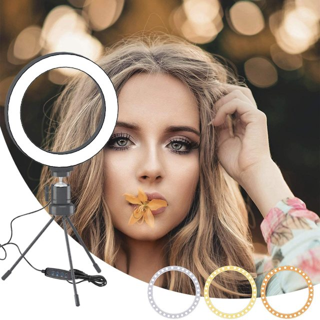 6/10inch Dimmable Ring Light with Stand LED Camera Selfie Light Ring for Phone with Tripod Lamp for Makeup Video Photography