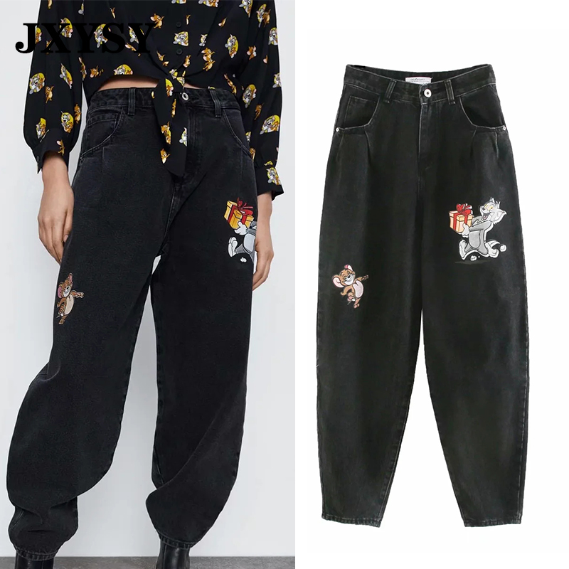 JXYSY Jeans Women England Style High Street Vintage Cartoon Cat And Mouse Print High Waist Jeans Female Casual Denim Pants