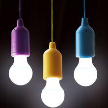 Creative Hanging bombilla LED luz colorida lámpara Pull Cord Bulb fiesta jardín interior exterior iluminación decoración
