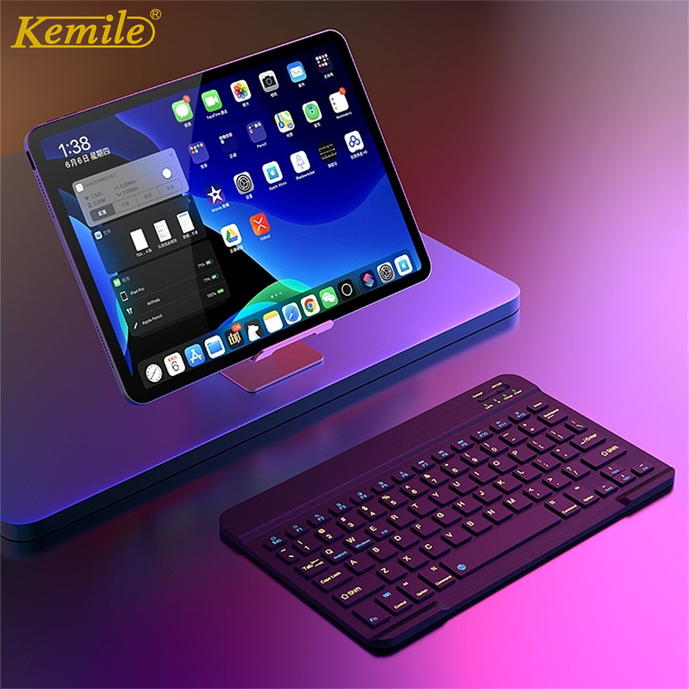 Ultra Slim Aluminum Bluetooth Russian Spanish Keyboard For IOS Android Tablet Windows For iPad 7.9 9.7 10.5 Bluetooth Keyboard image