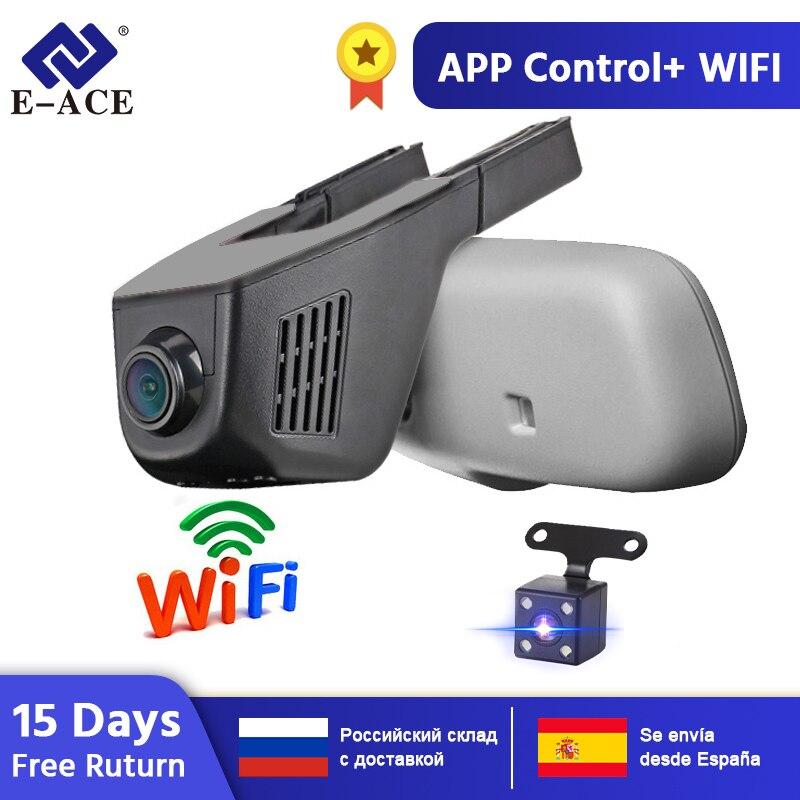 E-ACE DVRs Dupla Lente Da Câmera Dvr Carro WI-FI Dashcam Registrator Gravador de Vídeo Digital Filmadora Full HD 1080P 30FPS Noite versão