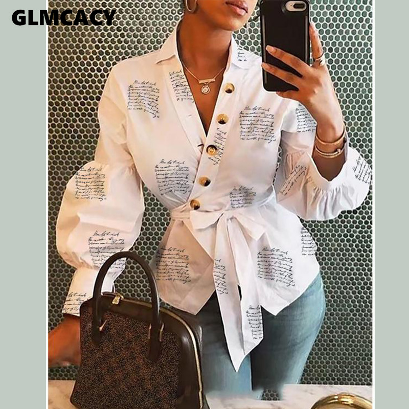 Women White Letter Button Decoration Shirt Classy Blouse Summer Autumn Asymmetric Placket Turn Down Collar Office Blouses