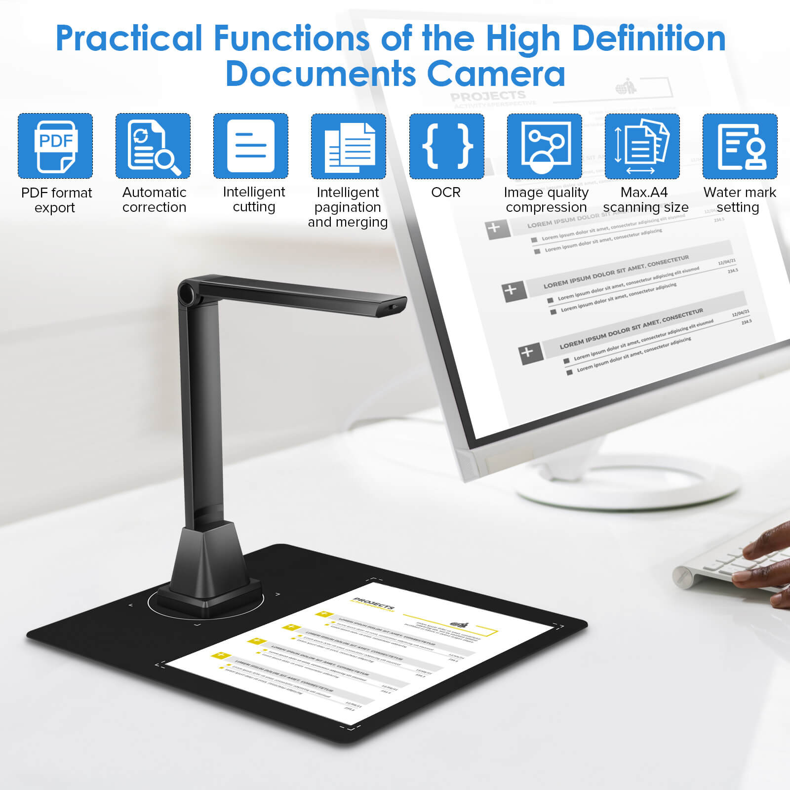 A4 Portable High Speed USB Book Picture Document Camera Scanner 5 Mega-pixel HD camera OCR Function LED Light document scanner