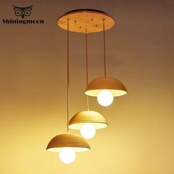 Vintage Home Decor Kitchen Pendant Lights Creative Wooden Art Dining Room Kitchen Pendant Lamp Living Room Hanging Lamp Fixtures