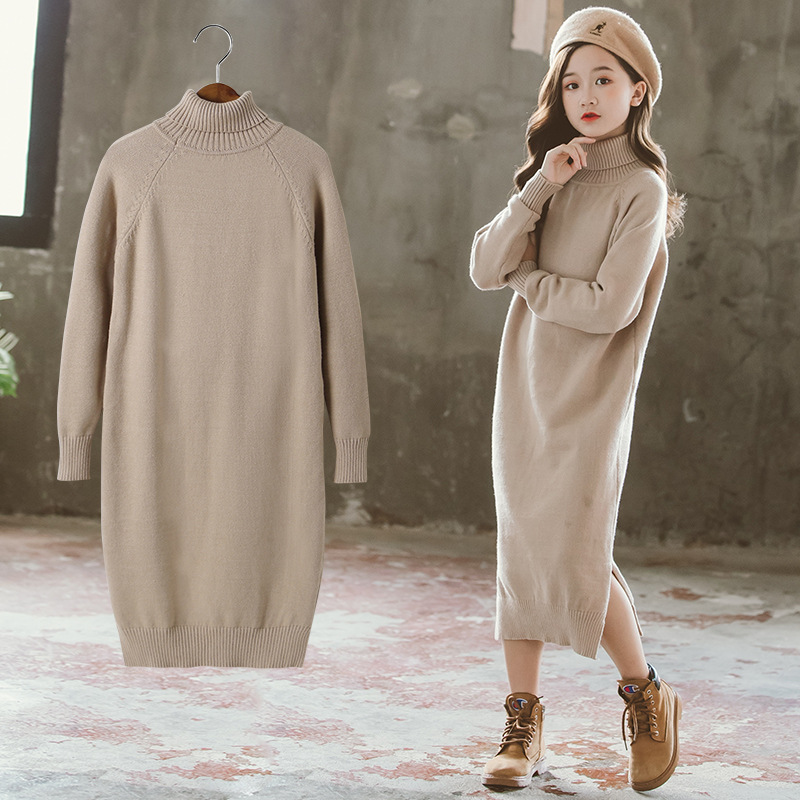 Girls Dress 8 To 9 Years 2020 Winter Clothes For Teenage Girls Sweater Dress Long Sleeve Solid Warm Kids Clothes Girls 7 To 8 12 3