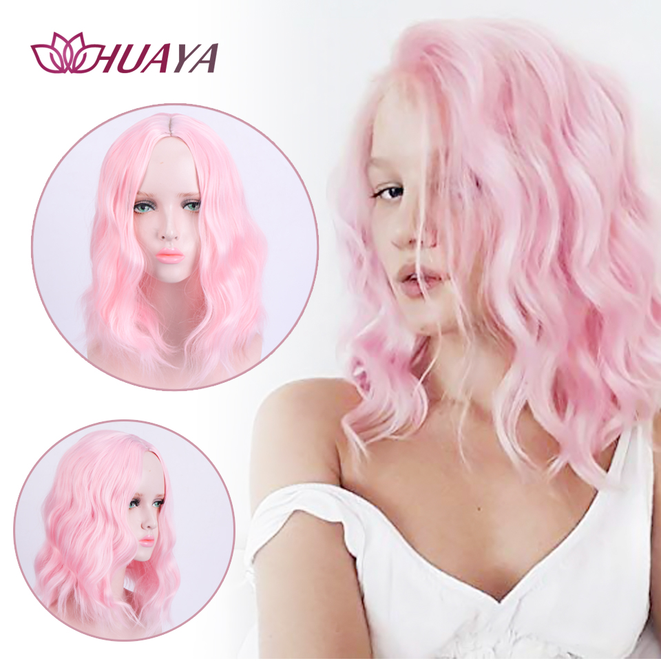 HUAYA Short Natural Wavy Heat Resistant Fiber Synthetic Bob Wigs Women's Party Wig Or Halloween Cosplay Fashion Pink/Blonde Hair