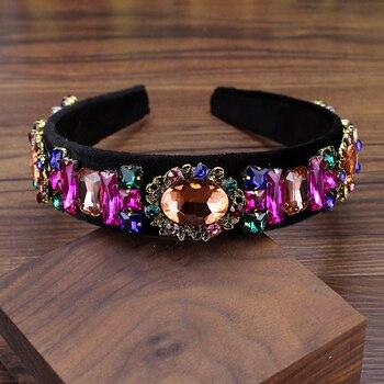 Diadema de cristal colorida brillante vintage, diadema de diamantes de imitación para...