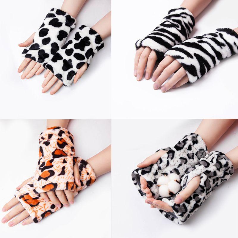 Women Men Winter Thickened Flannel Fingerless Gloves Zebra Stripes Leopard Animal Pattern Thermal Lining Hand Warmer Mittens