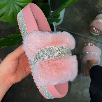 2020 Bling Women Plush Slippers Fur Slides Rhinestones Female Glitter Shoes Platform Flat Women's Footwear Big Size 43 image