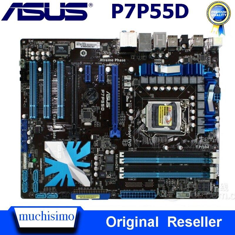 LGA 1156 Asus P7P55D carte mère DDR3 1156 Core i7/Core i5 USB2.0 SATA II P7P55D Intel P55 ordinateur de bureau d'origine utilisé Asus carte mère