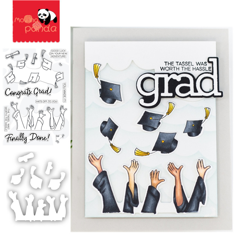HATS OFF GRAD Wafer Metal Cutting Dies And Stamps Craft Dies Scrapbooking Card Making Album Embossing Stencil Die Cut Decoration