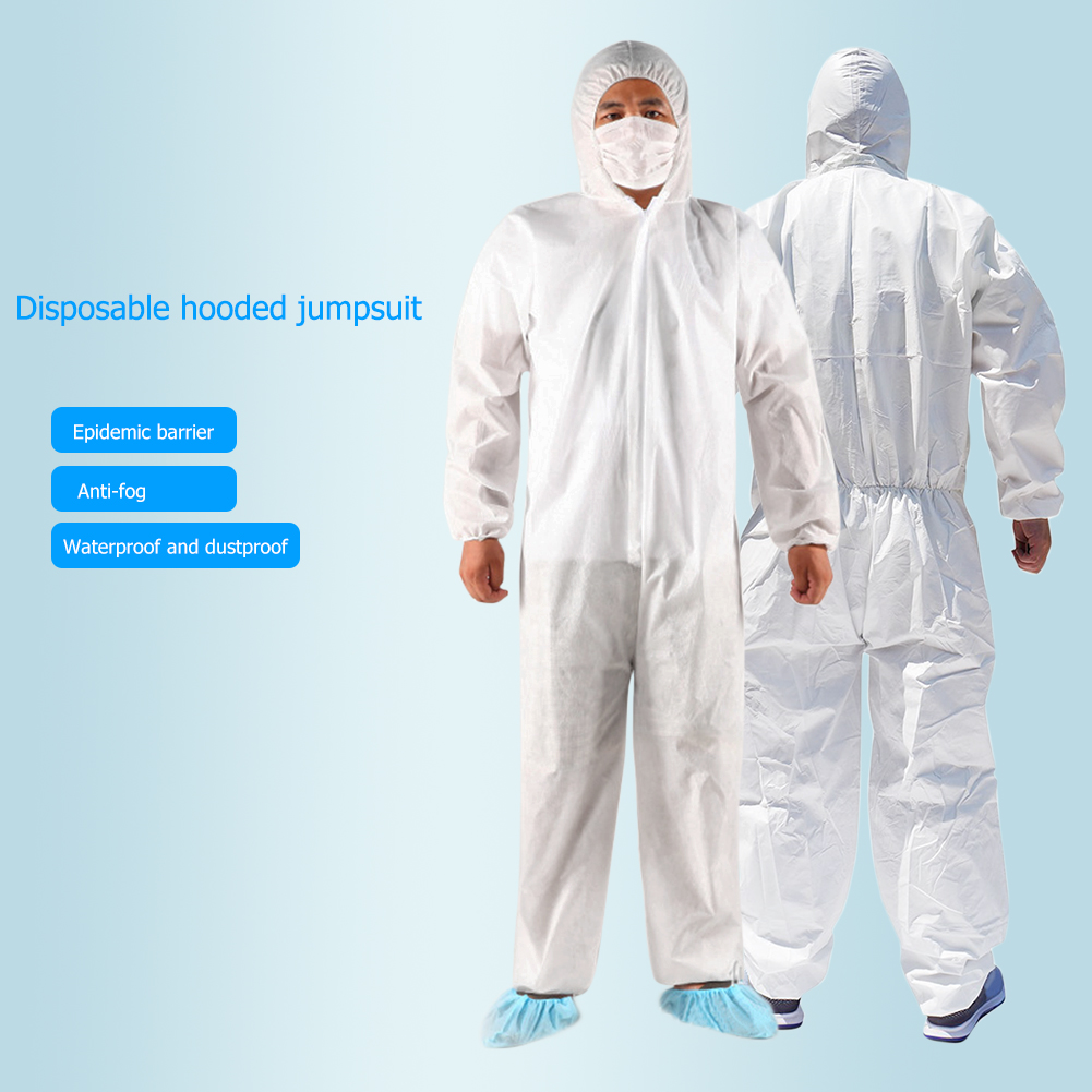 Disposable Hoodies Jumpsuit Coveralls Surgical <font><b>Gown</b></font> Dust-proof Isolation Clothes <font><b>Labour</b></font> Suit Security Protection Hooded Clothing image