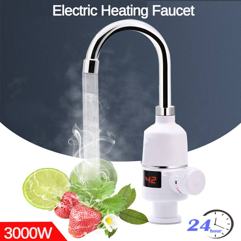 3000W Tankless Electric Water Heaters Kitchen Bathroom Instant Hot Water Tap Heater Faucet Instantaneous Cold Heating Taps 220V