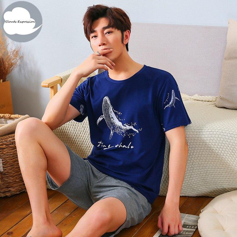 Summer Knitted Cotton Short Sleeved Men's   Pajamas     Sets   Male   Pajama     Set   Letter   Pajama   For Men Sleepwear Suit Homewear Size XXXL