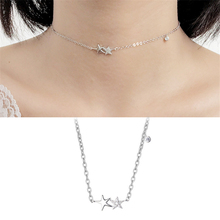 New Arrival Korean Style Cute Starfish Stars Choker Pendant Necklaces 925 sterling silver necklace For Women Ladies Jewelry P173