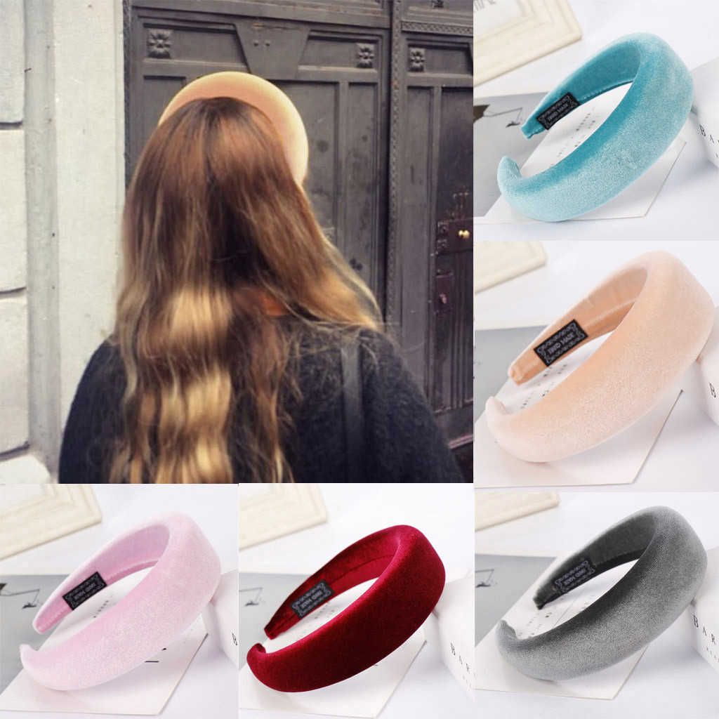 2019 kadın çerçeve kafa kadife yastıklı kafa bandı kadınlar için katı geniş kalın hediyeler saç Hoop elastik Hairband saç aksesuarları 903