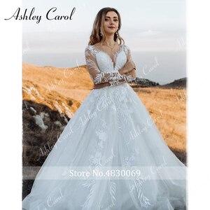 Image 5 - アシュリーキャロルセクシーな v ネックアップリケチュールウェディングドレス 2020 イリュージョン背中長袖プリンセス自由奔放に生きる花嫁レースのウェディングドレス