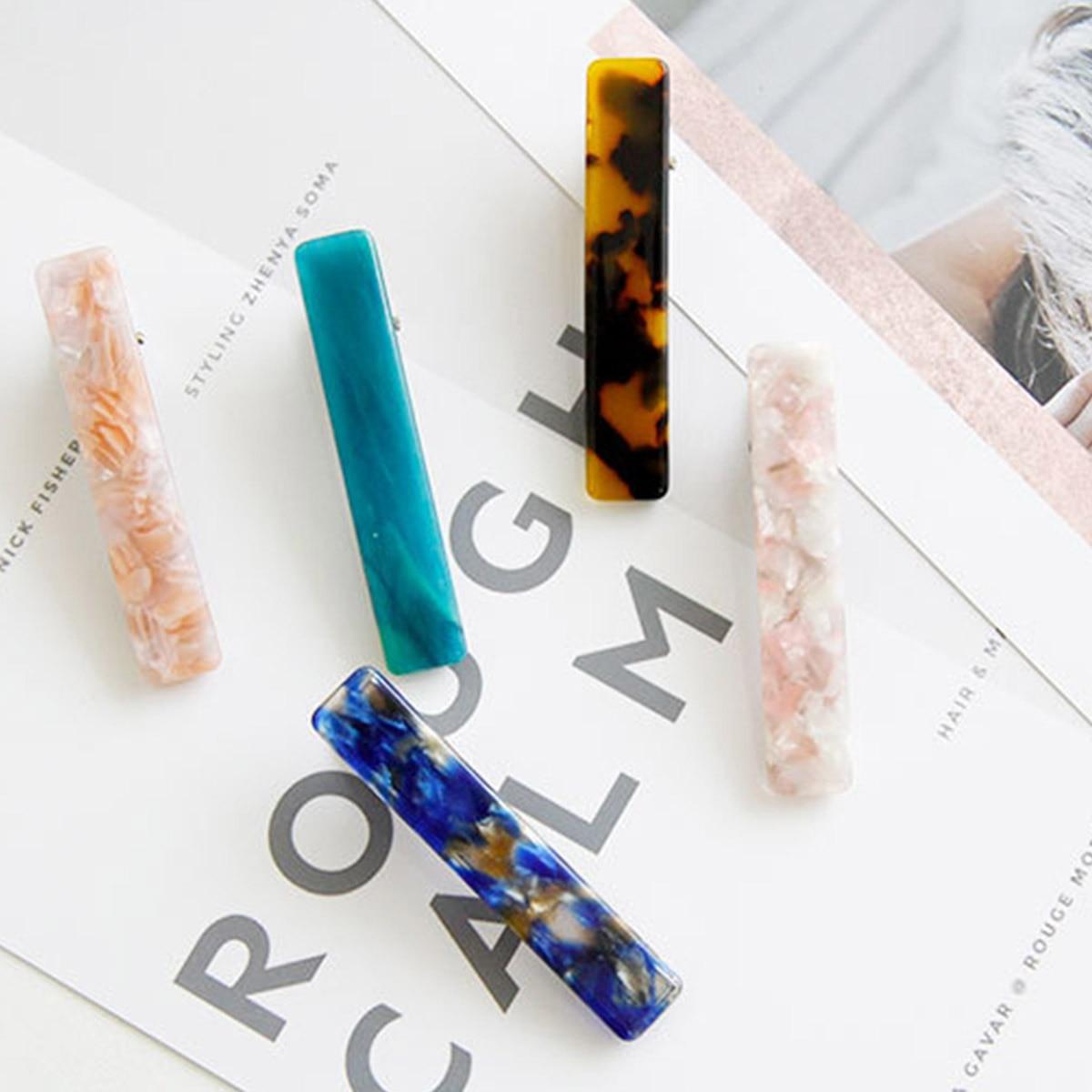 Hair Accessories Colorful Long Acrylic Hair Clips For Women Girls Rectangle Marble Leopard Pattern Headwear Barrette Headband