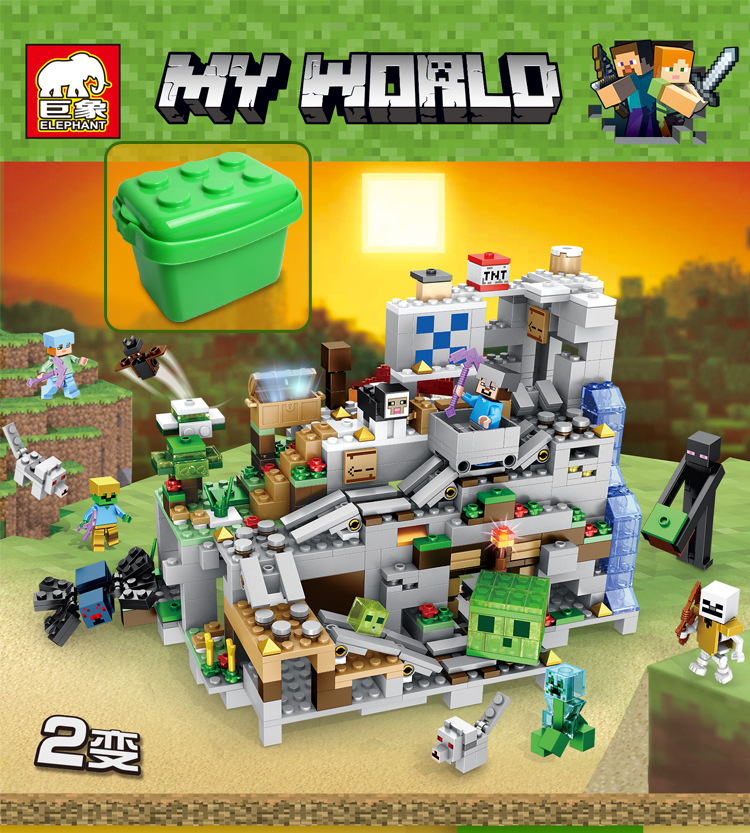 A Cave Citys Minecraftinglys Building Blocks Compatible With Legoinglys Aminal Alex Action Figures Brick Toys Children Gift