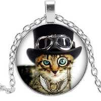 2019 Hot Creative Punk Cat Doctor Time Crystal Glass Convex Round Pendant Necklace Clothing Sweater Chain Jewelry