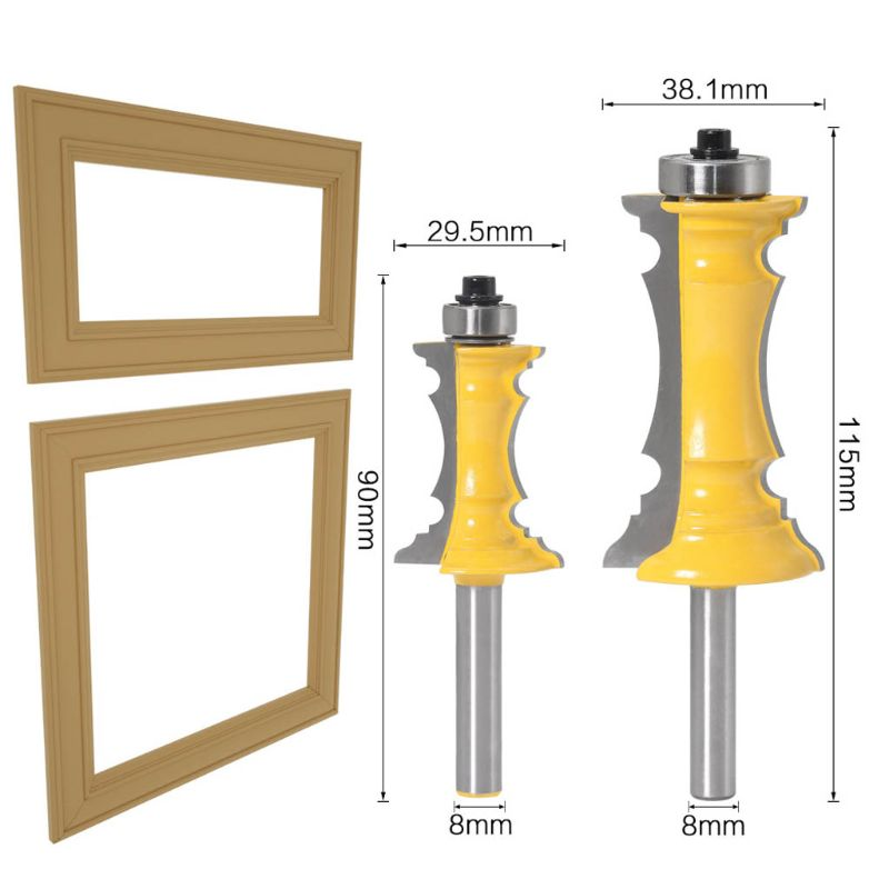 8mm Shank Miter Frame Molding Router Bit Door Line Knife Tenon Milling Cutter Drawer Making For Woodwork Hand Tools Accessories