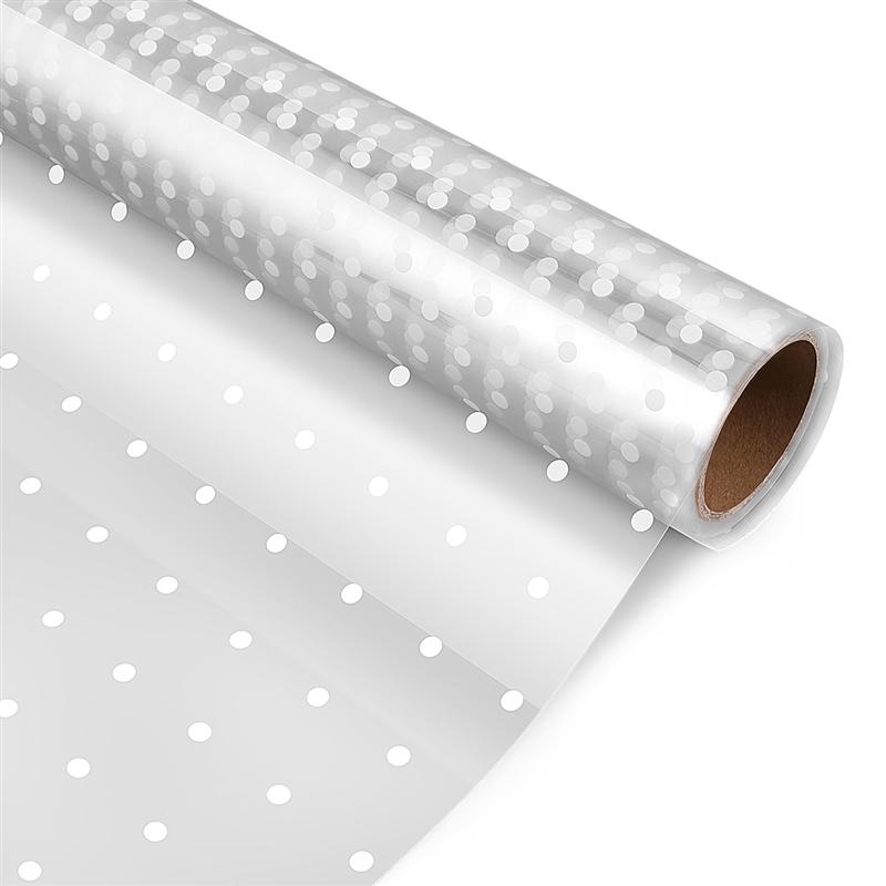 Cellophane Wrap 2.5 Mil Thickness Cellophane Wrap Roll Clear Cellophane Bags To Wrap Gift Baskets Arts & Crafts (White Dots)