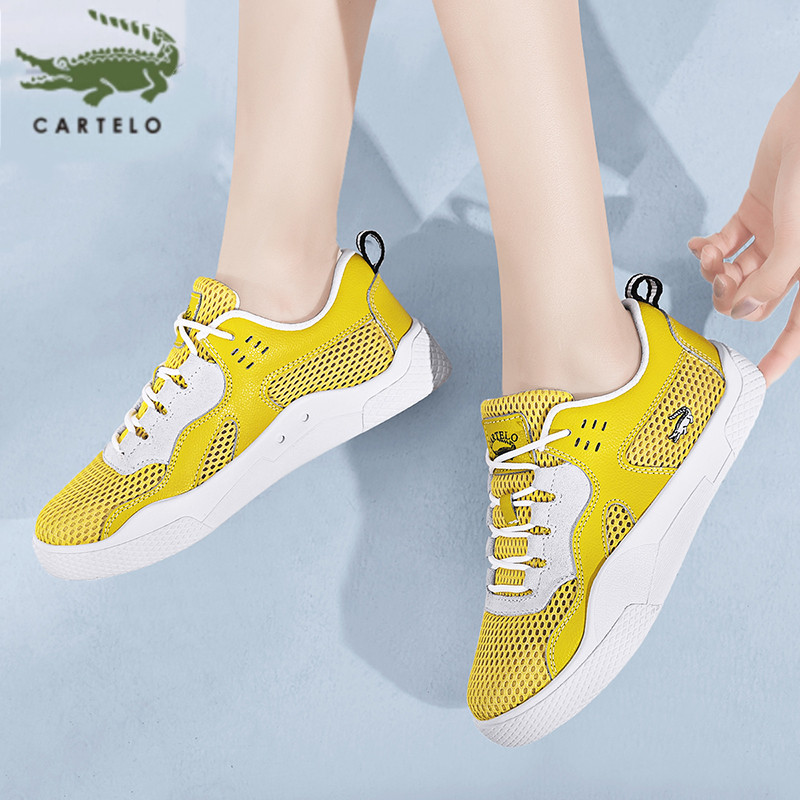 CARTELO Sports Casual Shoes Mesh Breathable Wild Korean Women's Shoes Hollow Lace White Shoes Women кроссовки женские