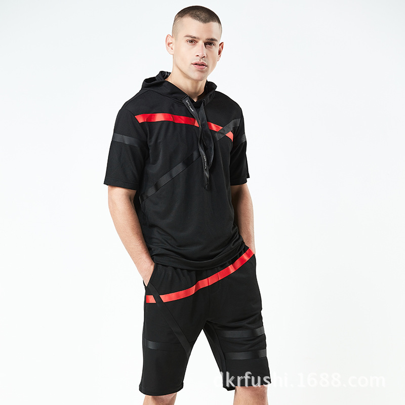 Summer New Style Casual Fashion Set Men's Stripes Hooded Short Sleeve Loose-Fit Breathable MEN'S Sport Suit 374