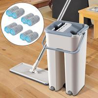 Magie Reinigung Mops Kostenloser Hand Spin Reinigung Mikrofaser Mopp Mit Eimer Flache Squeeze Spray Mopp Home Küche Boden Sauber Werkzeuge