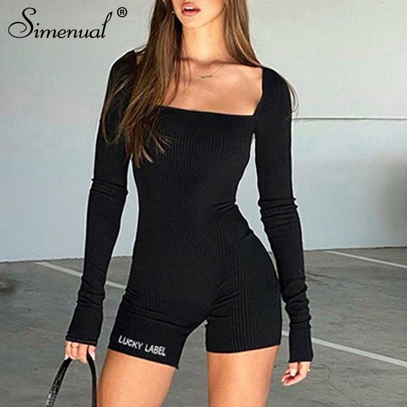Simenual Casual Ribbed Biker Shorts Playsuits Women Sporty Workout Active Wear Rompers Long Sleeve Letter Embroidery Playsuit