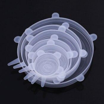 Ensemble de 6 pièces couvercles alimentaire universels en silicone 1