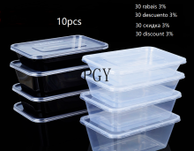 10pcs disposable lunch box with lid thickened sealed food grade PP plastic material convenient lunch box takeaway packaging box