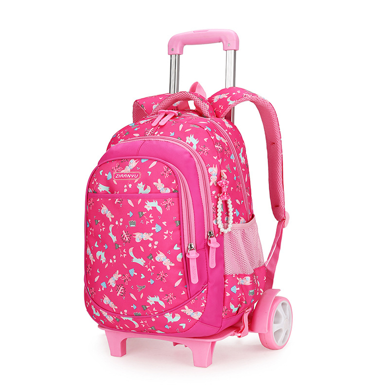 3pcs Kids Students School Bag Trolley Backpack Satchel With Wheels