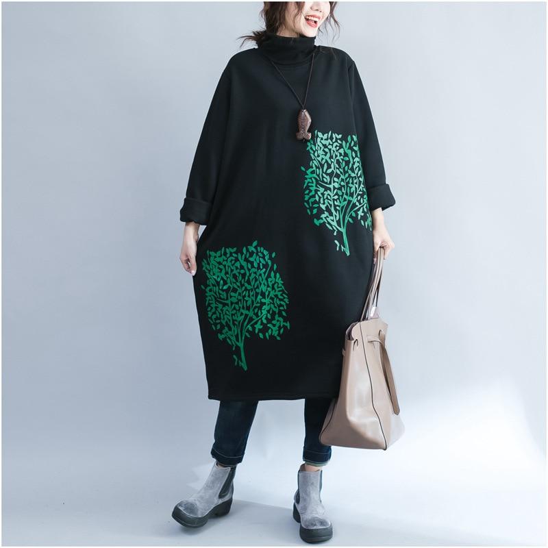 Johnature 2019 Winter New Casual Korean Print Thicken Women Hoodies Turtleneck Full Sleeve Pockets Comfortable Sweatshirts