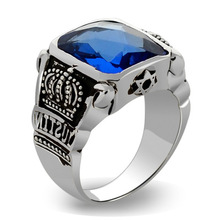 925 sterling silver ring obsidian cut faux blue crystal crown ring for men chic faux crystal skull bracelet with ring for women