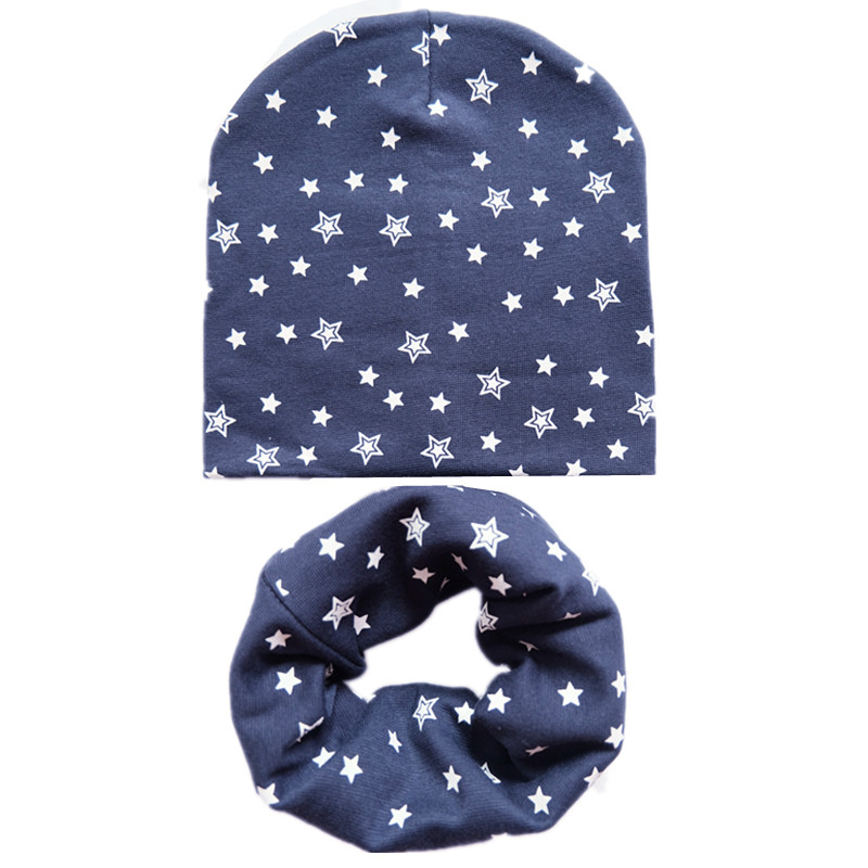 Autumn Children Hat Set Cotton Baby Hat Scarf 2Pcs/Set Spring Star Print Children Caps Scarves Boys Girl Warm Beanie Collar Set