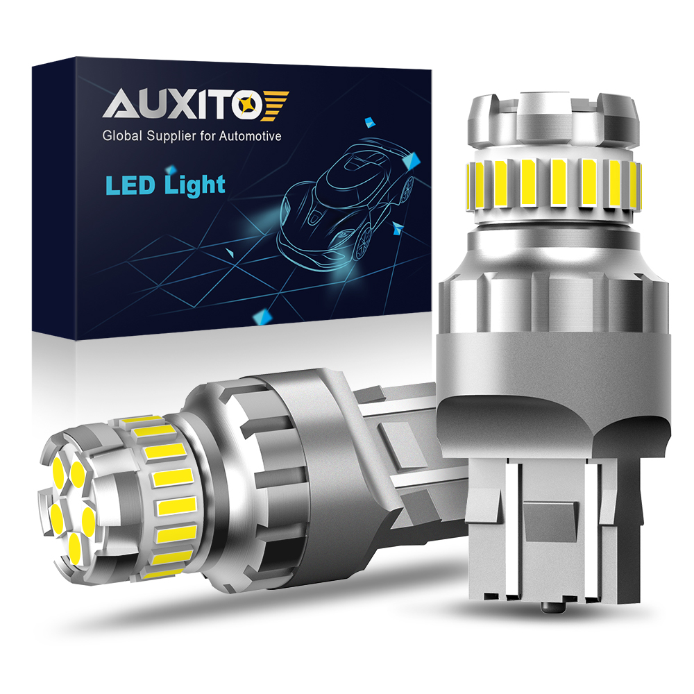 AUXITO 2x 7443 7444 T20 W21/5W LED Light For Lada Kalina Granta Vesta DRL LED Bulbs 12V 6500K White Super Bright 3030 4014 SMD