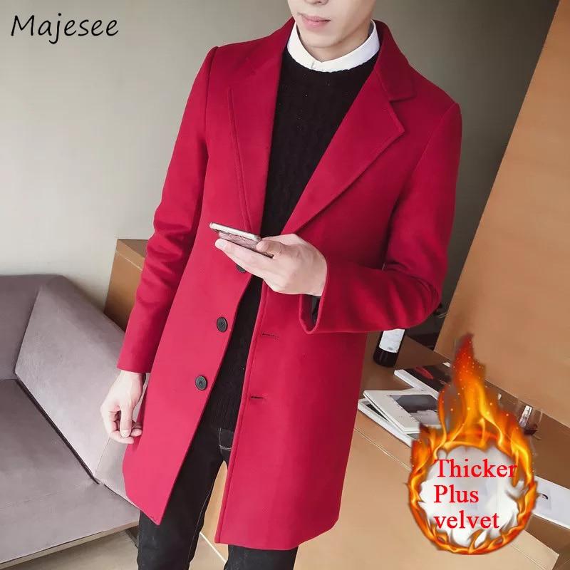 Wool Men Thicker Plus Velvet Warm Long Solid Simple All-match Korean Woolen Leisure Trendy Outerwear Mens High Quality Slim Coat