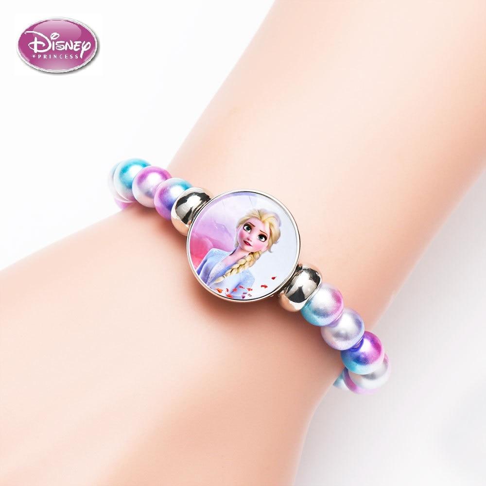 28 stilleri Disney Elsa Anna prenses bilezik gökkuşağı dondurulmuş 2 sevimli kız makyaj oyuncak çocuk çocuk karikatür bilezik boncuklu zincir