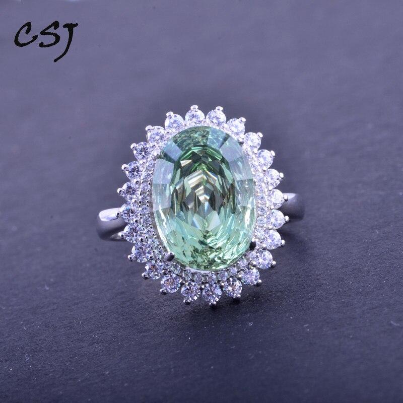 CSJ vert améthyste bague élégante en argent Sterling 925 ovale Concave nid d'oiseau coupe Fine bijoux pour femmes dame ou mère boîte-cadeau