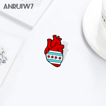 Chicago Flag Anatomical Heart Pins Custom Cartoon Brooches Lapel Enamel Pin Shirt Bag Funny icons Badge Jewelry Gift image